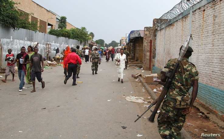 A soldier patrols the streets after a grenade attack of Burundi's capital Bujumbura, Feb. 3, 2016.