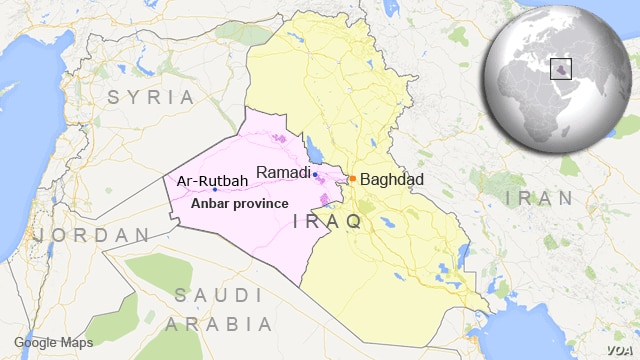 Map of Iraq showing Anbar province and the location of Ramadi and Ar-Rutbah