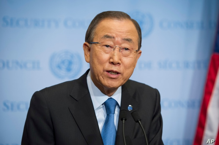 United Nations Secretary General Ban Ki-moon speaks to reporters at United Nations headquarters, Sept. 9, 2016.