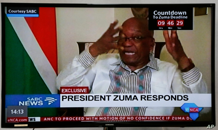 In this frame-grab from South African Boroadcasting Corporation state-run television President Jacob Zuma is interviewed, Feb. 14, 2018.