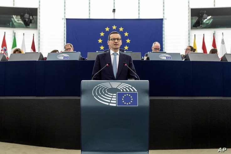 Polish Prime minister Mateusz Morawiecki delivers his speech during a debate the future of Europe at the European Parliament in Strasbourg, eastern France, July 4, 2018.