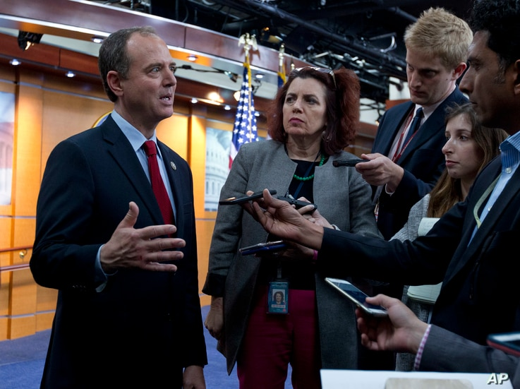 Rep. Adam Schiff, D-Calif., ranking member of the House Intelligence Committee, speaks with reporters after a news conference in Washington on July 17, 2018.