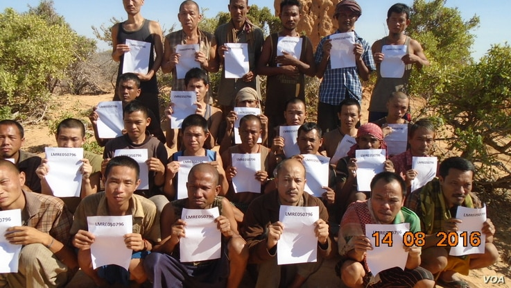 A photo of the 26 sailors who were released Saturday by Somali pirates. The photo was taken on Aug. 14, 2016. They were held hostage during a ship hijacking nearly five years ago. Their release brings to an end one of the longest-running hostage taki...