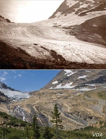 These photos of Jackson Glacier – taken in 1911 and 2009 -- show how the once-massive river of ice has shrunk in less than a century.