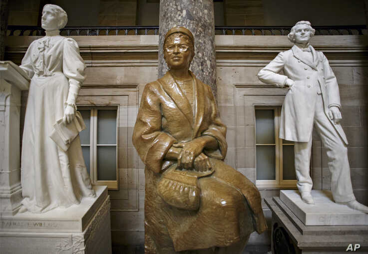 FILE - The statue of African-American civil rights activist Rosa Parks is seen in Statuary Hall on Capitol Hill in Washington, D.C., Dec. 1, 2014,