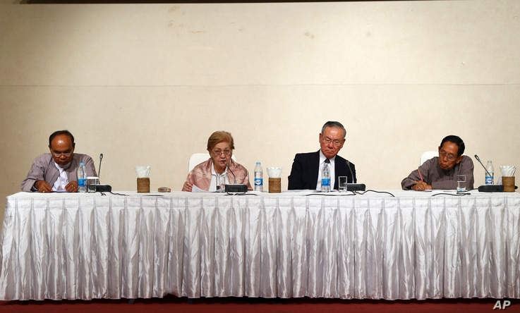 Members of the Independent Commission of Enquiry for Rakhine State — from left, former Chair of the Constitutional Tribunal of Myanmar Mya Thein, Philippine diplomat Rosario Manalo, former Japanese Ambassador to the U.N. Kenzo Oshima and former sen...