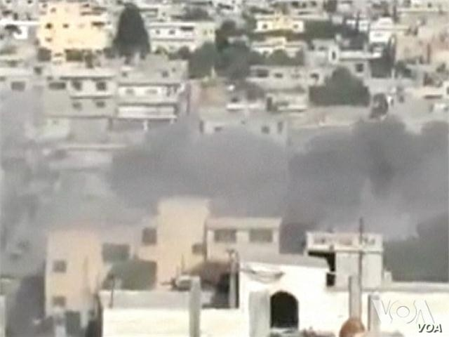 Video of government shelling in Rastan, Syria