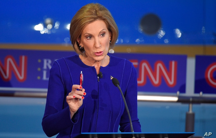 Republican presidential candidate, businesswoman Carly Fiorina, makes a point during the Republican presidential debate at the Ronald Reagan Presidential Library and Museum, Sept. 16, 2015.