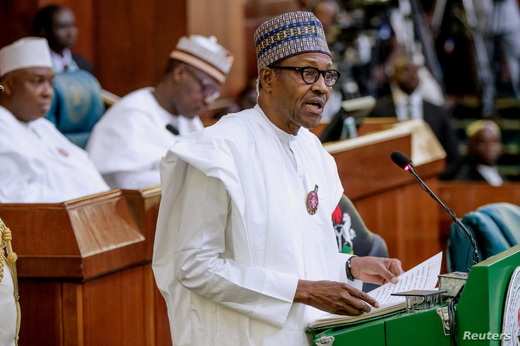 Nigeria's President Muhammadu Buhari presents the 2019 budget at the National Assembly in Abuja, Nigeria, Dec. 19, 2018.
