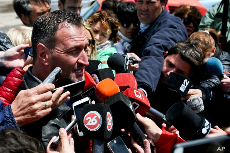 """Luis Tagliaprieta, father of sailor Alejandro Damian Tagliaprieta, a crew member from the missing ARA San Juan submarine, speaks with journalists at the naval base in Mar de Plata, Argentina, Nov. 24, 2017. """"Hope is the last thing you lose,"""" he said...."""