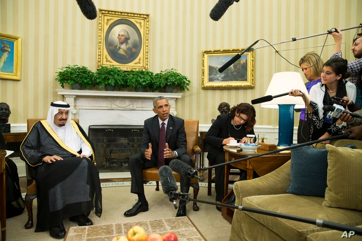 President Barack Obama, right, meets with King Salman of Saudi Arabia in the Oval Office of the White House, on Friday, Sept. 4, 2015, in Washington. The meeting comes as Saudi Arabia seeks assurances from the U.S. that the Iran nuclear deal comes wi...
