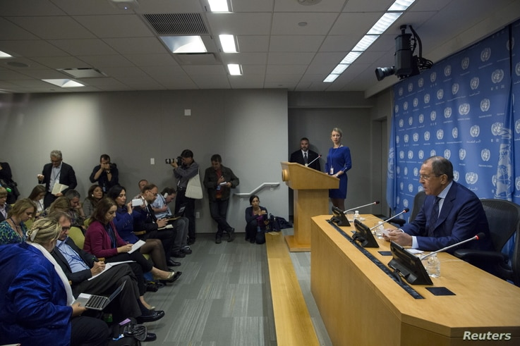Russian Foreign Minister Sergei Lavrov addresses the media during the United Nations General Assembly at the United Nations in Manhattan, New York, Oct. 1, 2015.
