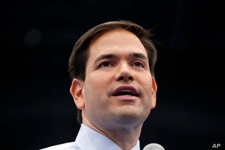 FILE -  then-Republican presidential candidate Sen. Marco Rubio, R-Fla., speaks during a campaign rally at Palm Beach Atlantic University in West Palm Beach, Fla.