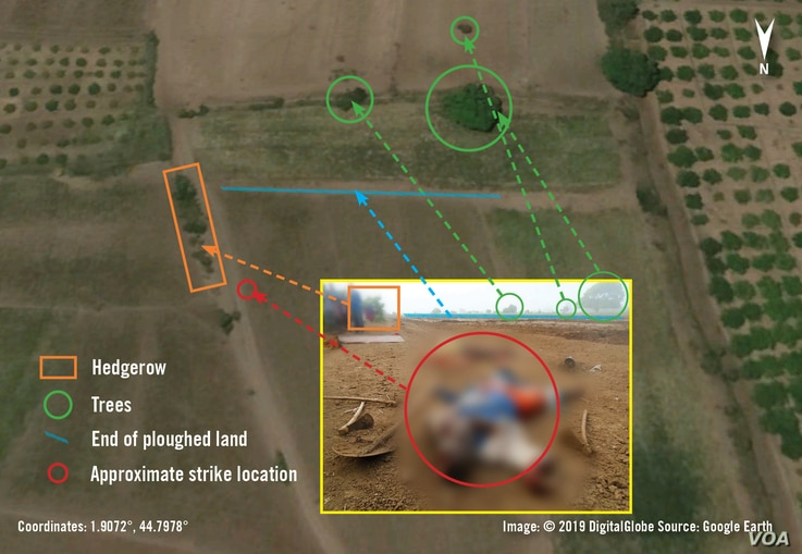 Satellite imagery depicting the location of a Nov. 12, 2017, US air strike in relation to the village of Darusalaam, Lower Shabelle. According to Amnesty International, the strike killed three farmers.