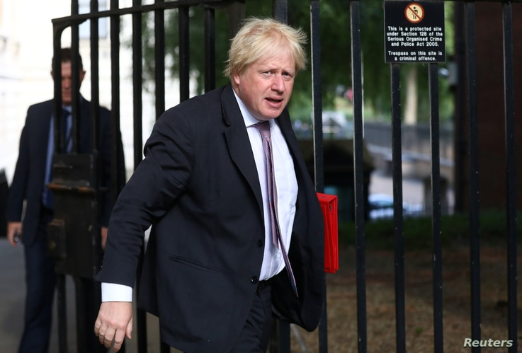 Britain's Secretary of State for Foreign and Commonwealth Affairs Boris Johnson arrives at 10 Downing Street in London, Britain, July 3, 2018.