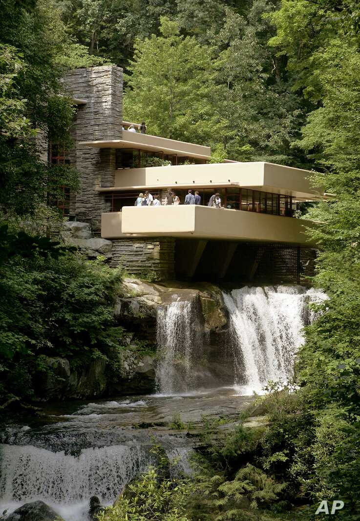"""The American Institute of Architects calls Fallingwater, in Pennsylvania, which is partly built over a waterfall, the """"best all-time work of American architecture."""""""