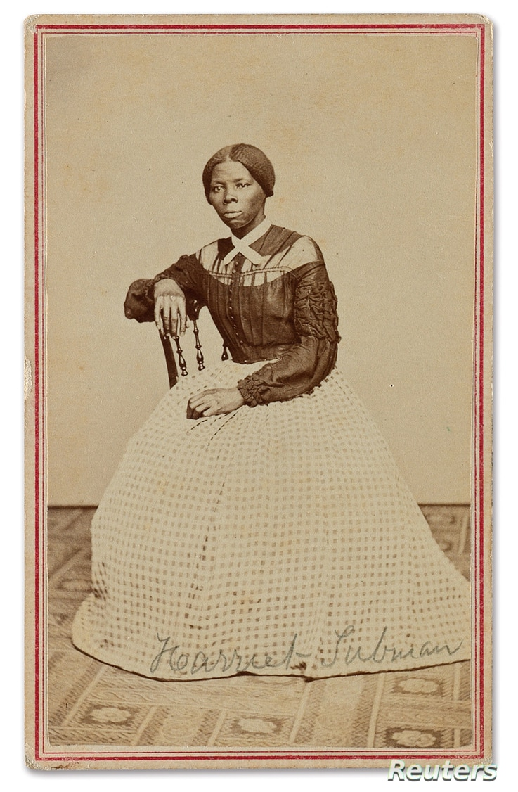 A Civil War-period carte-de-visite album with 48 photographs, including a previously unrecorded image of Harriet Tubman, is up for auction at Swann Auction, as seen in this undated handout photo.
