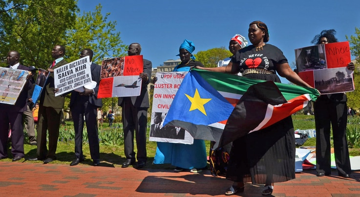 South Sudanese protest outside the White House in Washington, D.C. on Tuesday, Apr. 28, 2015. The protesters want President Salva Kiir to step down and say more targeted sanctions are needed against those blocking peace in South Sudan.