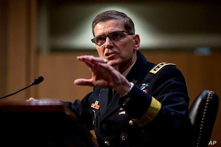 U.S. Central Command Commander Gen. Joseph Votel speaks at a Senate Armed Services Committee hearing on Capitol Hill, Feb. 5, 2019.