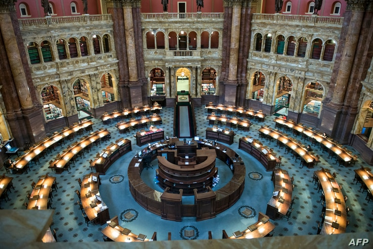 A view of the Main Reading Room at the Library of Congress on Capitol Hill, July 24, 2014 in Washington, DC.