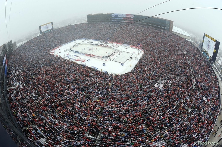 FILE - A general view from the roof of Michigan Stadium during the 2014 Winter Classic hockey game between the Detroit Red Wings and the Toronto Maple Leafs, Ann Arbor, Michigan, Jan. 1, 2014.