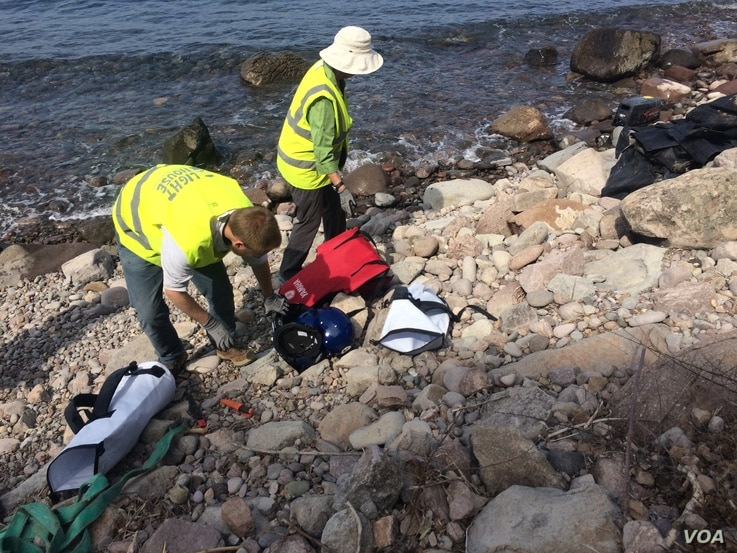 Because there are so few new arrivals and most bypass humanitarian organizations, volunteers poised to help people clean up shores littered with boats and life jackets in Lesbos, Greece, April 3, 2016.