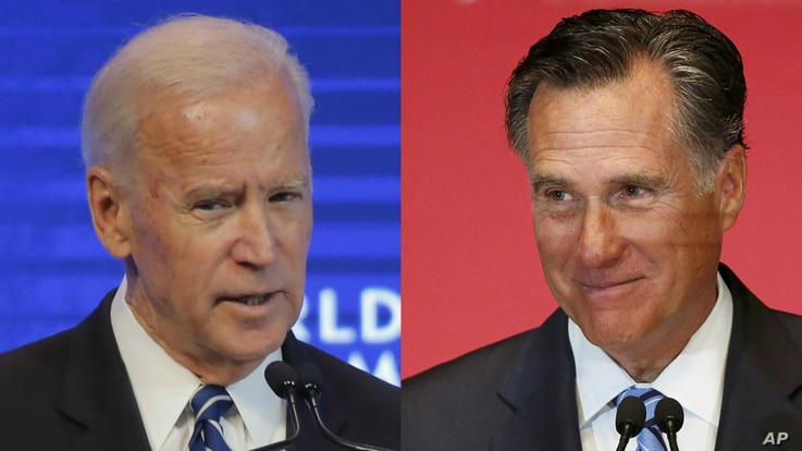 From left, former Vice President Joe Biden and former Republican presidential candidate Mitt Romney.