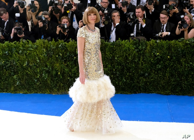 Anna Wintour attends The Metropolitan Museum of Art's Costume Institute benefit gala celebrating the opening of the Rei Kawakubo/Comme des Garçons: Art of the In-Between exhibition on May 1, 2017, in New York.