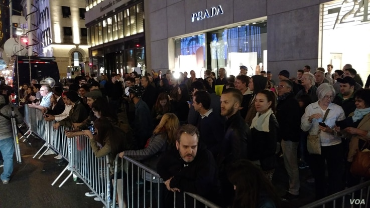 Protesters gather outside Trump Tower, April 19, 2016.