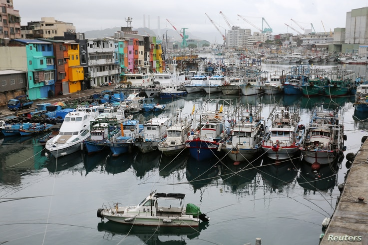 Fishing boats stationed, as they braced for super typhoon Maria in Keelung near Taipei, Taiwan, July 10, 2018.