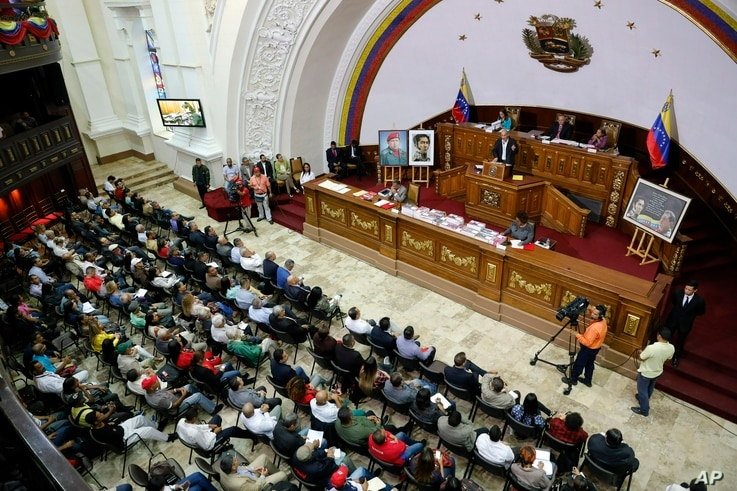 National Constituent Assembly members attend a session in Caracas, Venezuela, April 2, 2019.