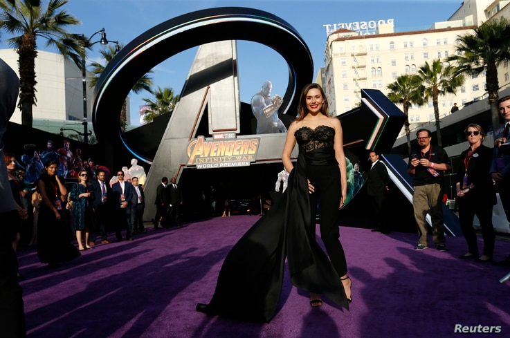 """Actress Elizabeth Olsen arrives at the premiere of """"Avengers: Infinity Wars"""" in Los Angeles, California, April 23, 2018."""