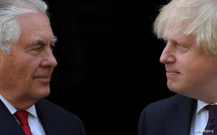 Britain's Foreign Secretary  Boris Johnson meets U.S. Secretary of State Rex Tillerson at his official residence in London, Britain, May 26, 2017.