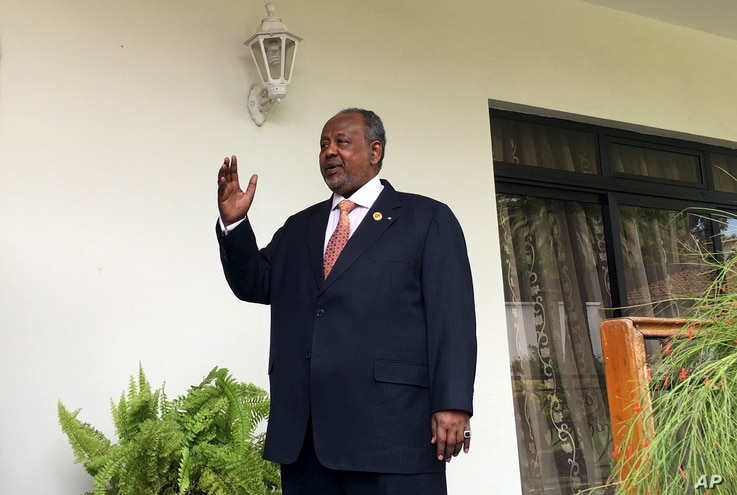 FILE - Djibouti's President Ismail Omar Guelleh arrives for a Reuters interview at his home in Ethiopia's capital Addis Ababa on January 30, 2016.