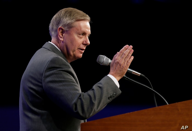 Sen. Lindsey Graham, R-S.C., speaks during the Iowa Republican Party's Lincoln Dinner, May 16, 2015, in Des Moines, Iowa.