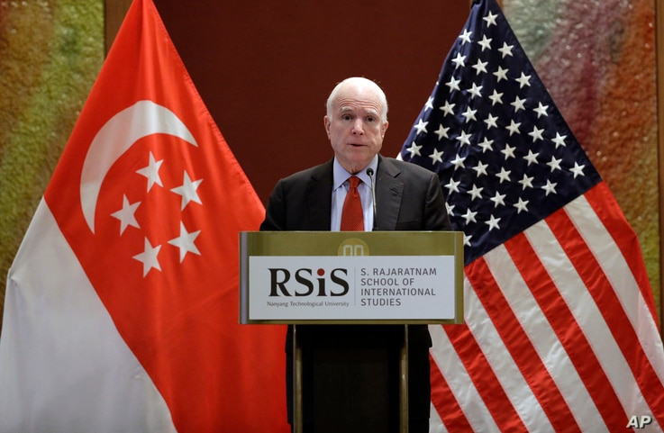 "Sen. John McCain, R-Ariz., delivers his speech titled ""America's Enduring Commitment to Security and Prosperity in Asia"" at the S. Rajaratnam School of International Studies (RSIS) Distinguished Public Lecture Friday, June 3, 2016 in Singapore."