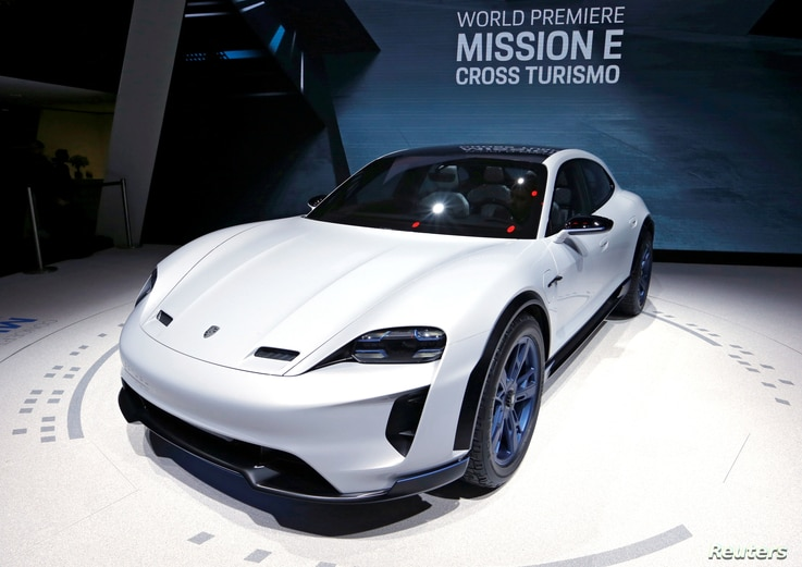 The Porsche Mission E Cross Turismo is seen during a presentation at the 88th International Motor Show at Palexpo in Geneva, Switzerland, March 6, 2018.