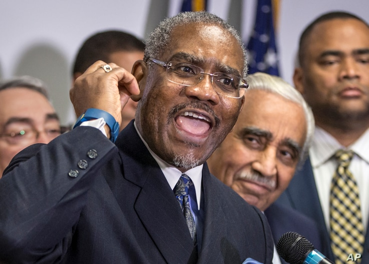 FILE - Rep. Gregory Meeks, D-N.Y., chairman of the Congressional Black Caucus Political Action Committee, announces the caucus' endorsement of Democratic presidential candidate Hillary Clinton ahead of the Feb. 27 Democratic primary in South Carolina...