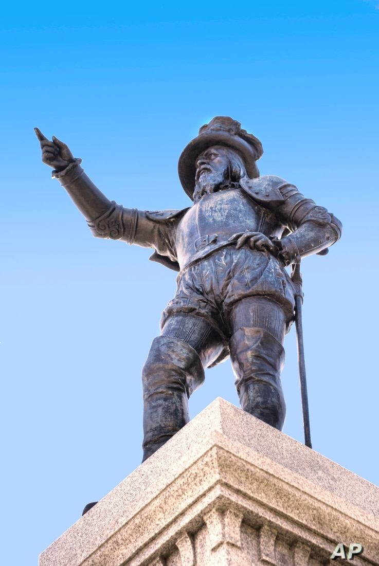 This undated image provided by the St. Augustine, Ponte Vedra & The Beaches Visitors and Convention Bureau shows a statue of Spanish explorer Ponce de Leon located at the foot of the Bridge of Lions in St. Augustine's Plaza de La Constitucion in St...