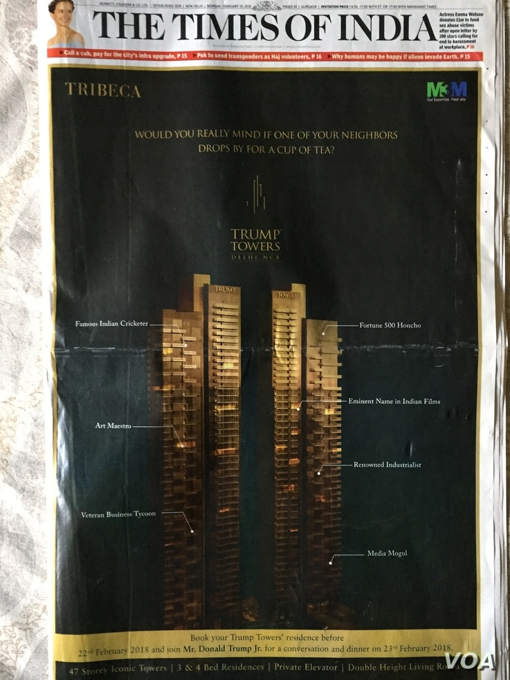 Front, full page advertisements in prominent newspapers of Trump real estate projects in India offer customers booking apartments b Thursday dinner with Donald Trump Jr.