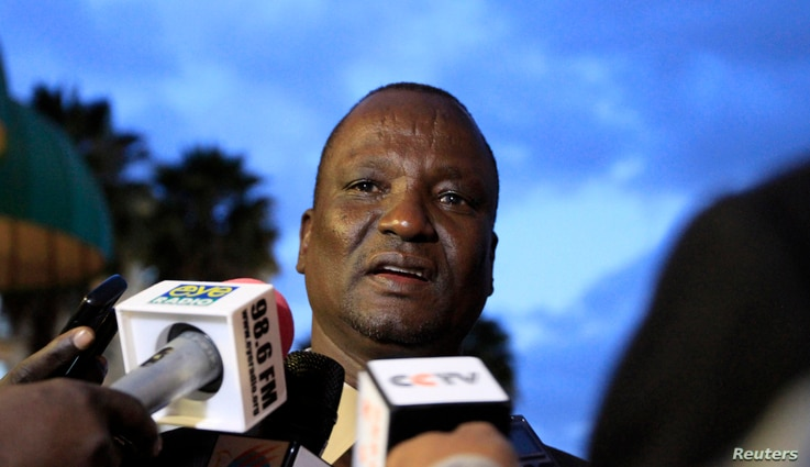 Head of the rebel delegation Taban Deng Gai, addresses journalists during South Sudan's negotiations in Ethiopia's capital Addis Ababa, January 8, 2014.