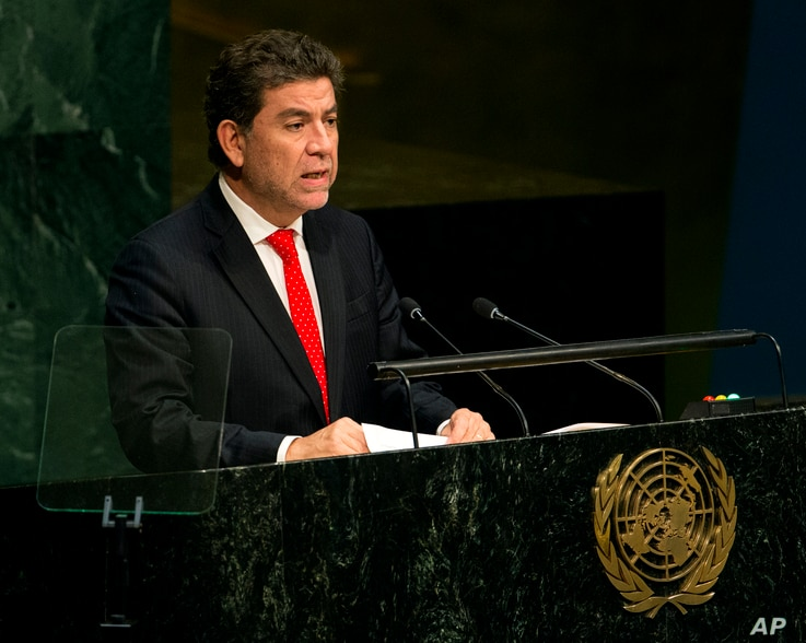 FILE - Gustavo Meza-Cuadra, Permanent Representative of Peru to the United Nations, addresses the 70th session of the United Nations General Assembly at U.N. headquarters, Oct. 2, 2015.