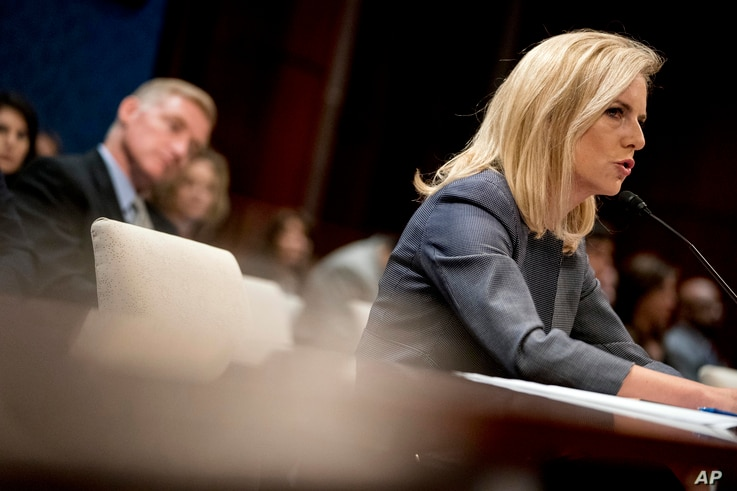 Homeland Security Secretary Kirstjen Nielsen speaks before a House Homeland Security Committee subcommittee on Capitol Hill in Washington, April 26, 2018.