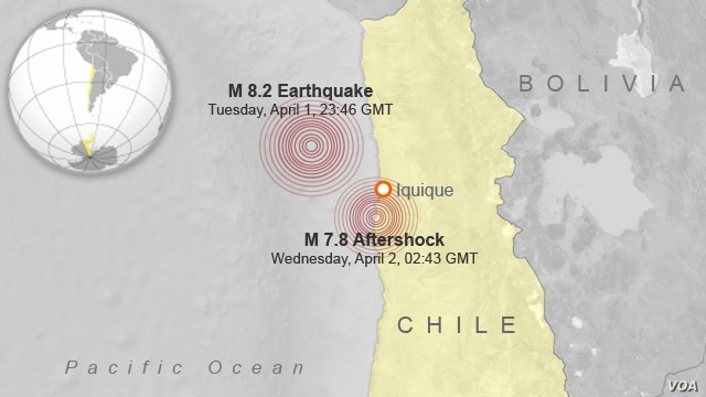 Earthquake and aftershock in Chile.