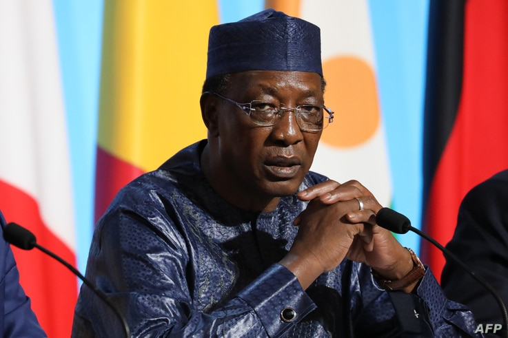 Chadian President Idriss Deby  attends a meeting with EU and African leaders to discuss how to ease the European Union's migrant crisis, at the Elysee Palace in Paris, on Aug. 28, 2017.