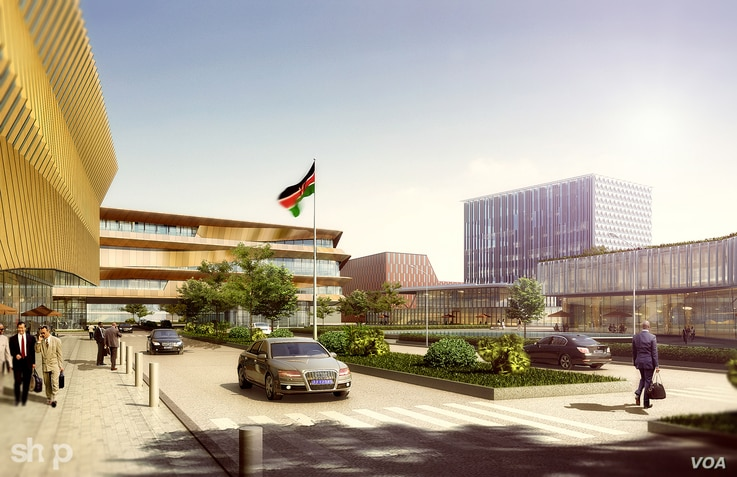 An artist's rendering shows the concept of a technology district in Konza, Kenya.