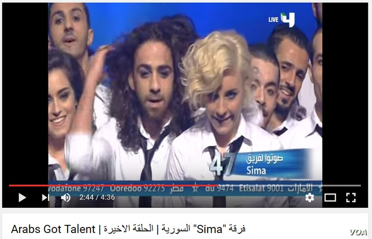 Hassan Rabeh (L.) seen in YouTube screenshot from 2013 'Arab's Got Talent' reality talent show broadcast by MBC4 across the Middle East.  Rabeh was a member of Sima dance troop,which won first place in the 2013 contest.