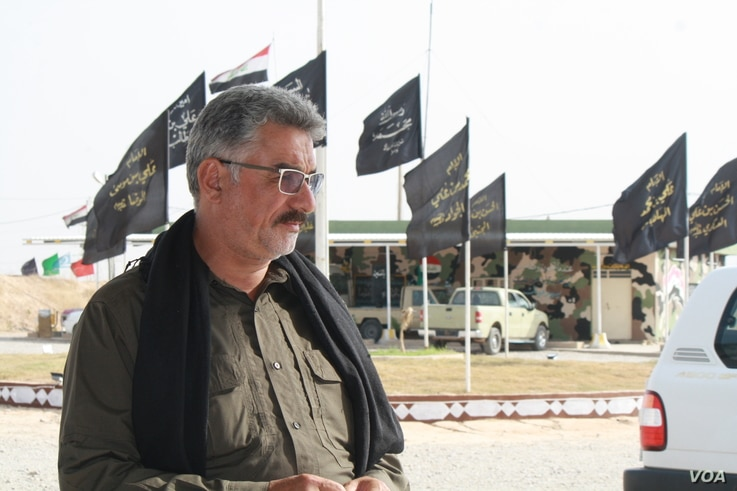Commander Zaki Muratti of the Popular Mobilization Units, locally known as Hashd Shaaby, says if the Kirkuk standoff turns into battle, the people in the middle on both sides will suffer most on Sept. 26, 2017 in Kirkuk, Iraq.