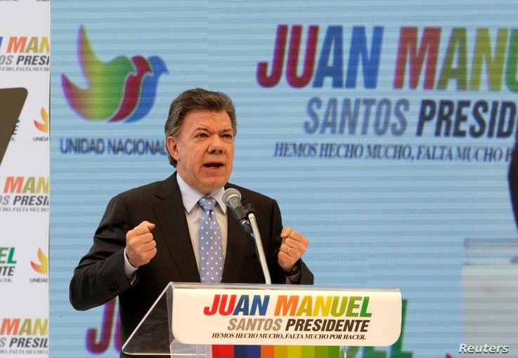 Colombia's President Juan Manuel Santos speaks during a campaign rally in Bogota, Colombia, April 28, 2014.