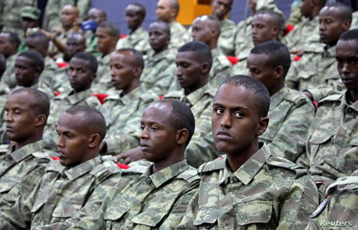 FILE: Somali soldiers attend a training session during the opening ceremony of a Turkish military base in Mogadishu, Somalia, Sept. 30, 2017.